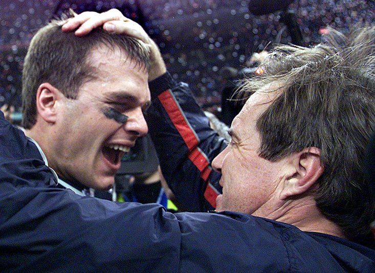 BRADY AND BELICHICK SHARE A MOMENT AFTER WINNING SUPER BOWL XXXVI