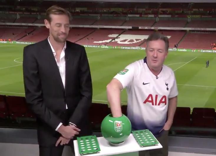 7c86745aa Arsenal Fan And Perennial Prat Piers Morgan Forced To Wear Tottenham Shirt  Live On TV