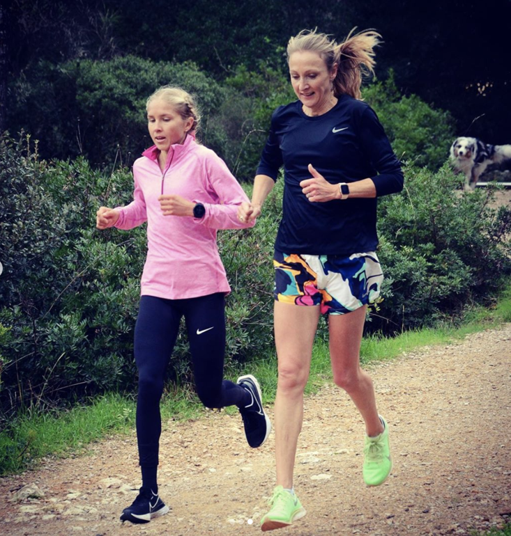 Radcliffe (right) puts Hasay (left) through her paces (Credit: Instagram/jordanhasay)