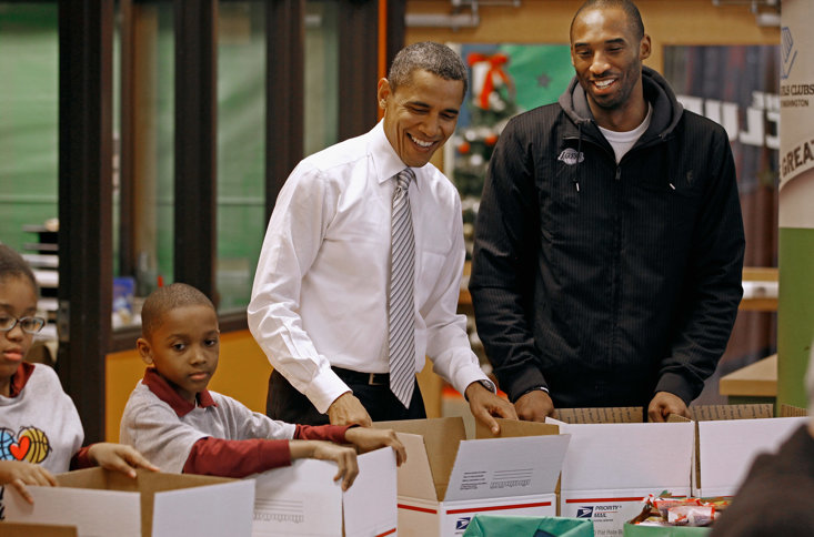 Obama and Bryant taking part in the 'NBA Cares' programme in 2010