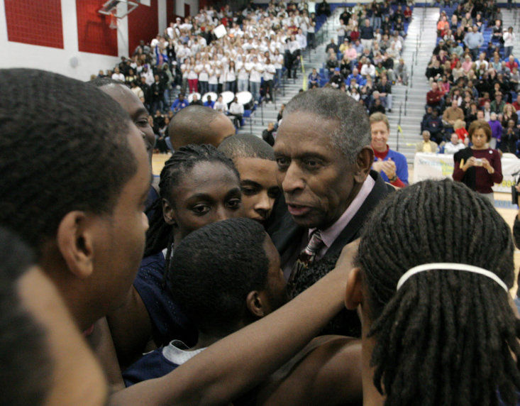 Lloyd at the unveiling of a gym dedicated to him at TC Williams HS