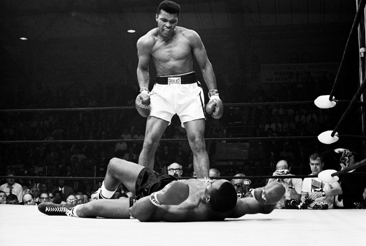 Liston is beaten by a young Muhammad Ali