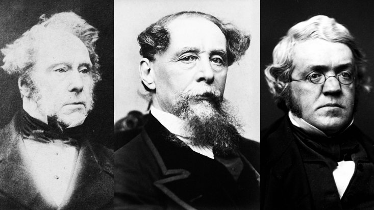 (Left to right) British PM Lord Palmerston and writers Charles Dickens and William Thackeray