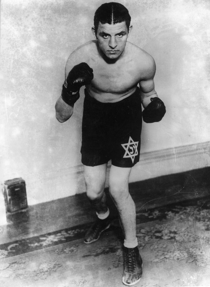 Though 'non-religous' himself, Berg always fought with a star of david on his trunks - a nod to his Jewish heritage
