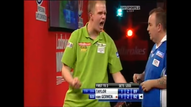 Michael van Gerwen made his PDC World Darts Championship debut in 2008 event against Phil Taylor