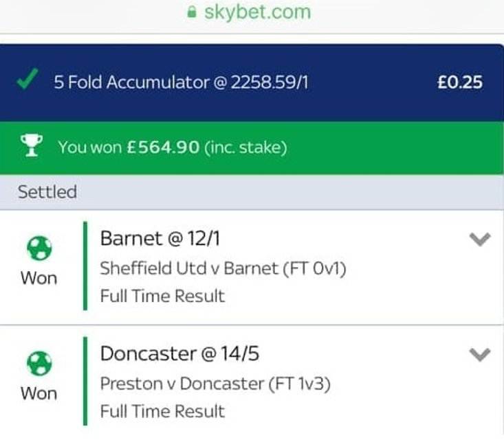 Monster 2258/1 FA Cup Acca Lands!