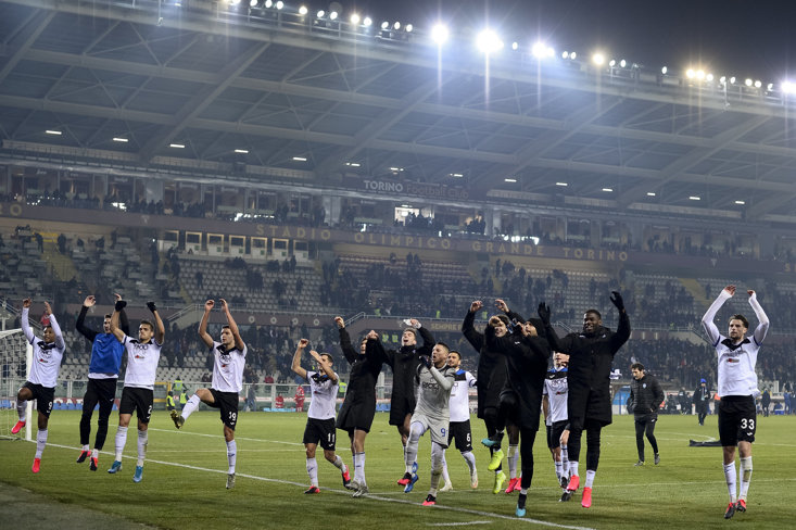 Atalanta celebrate after their 7-0 thumping of Torino