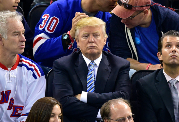 TRUMP WATCHING NEW YORK RANGERS, BUT HE NEVER DID BUY THEIR GLASGOW NAMESAKES