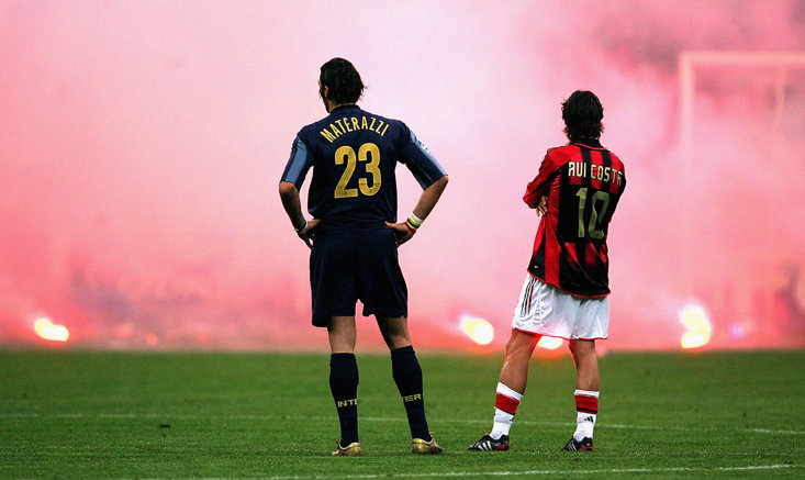 The Milan Derby produced this iconic image back in 2005 - they don't get better