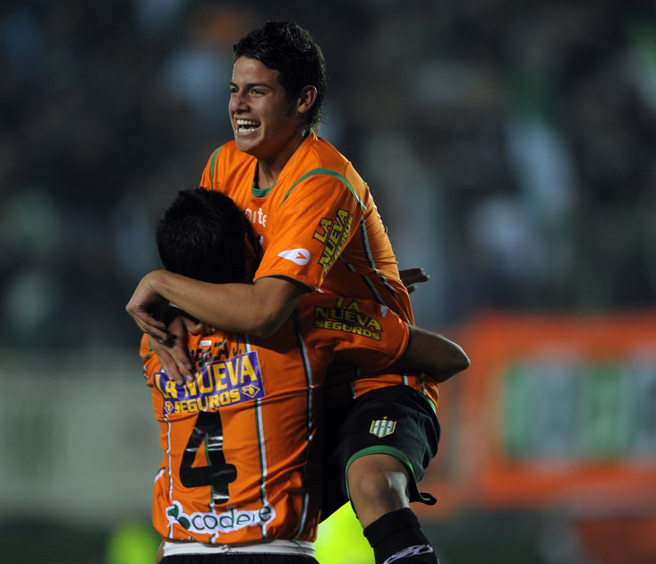 A YOUNG JAMES CELEBRATES SCORING FOR BANFIELD