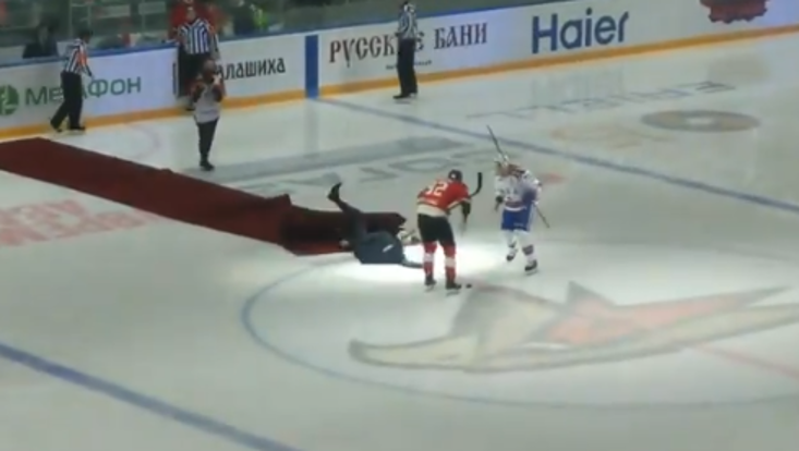 Jose Mourinho falls over at ice hockey game