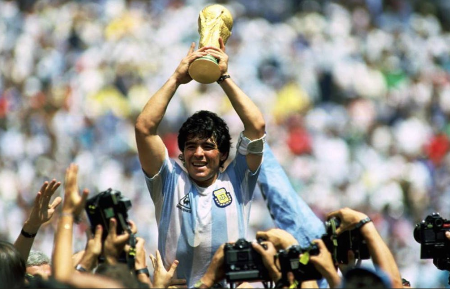 Maradona lifts the 1986 World Cup for Argentina