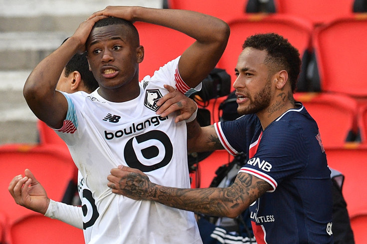 NEYMAR AND TIAGO DJALO WERE SENT OFF AS LILLE BEAT PSG