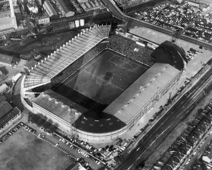 An aerial view of Old Trafford in March 1966