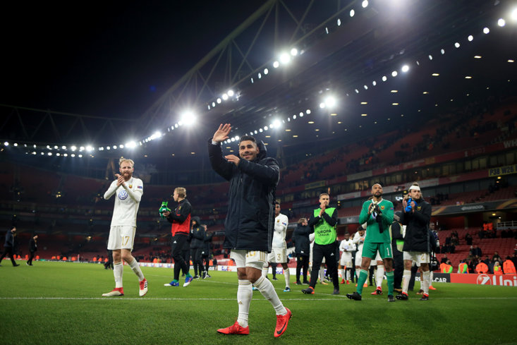 Ostersunds celebrate beating Arsenal at The Emirates in the Europa League in 2018