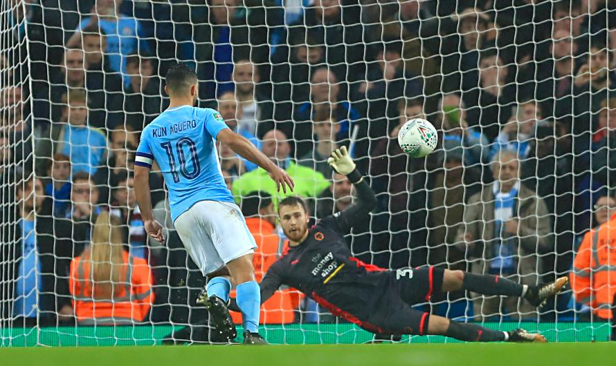 Image result for aguero penalty vs wolves