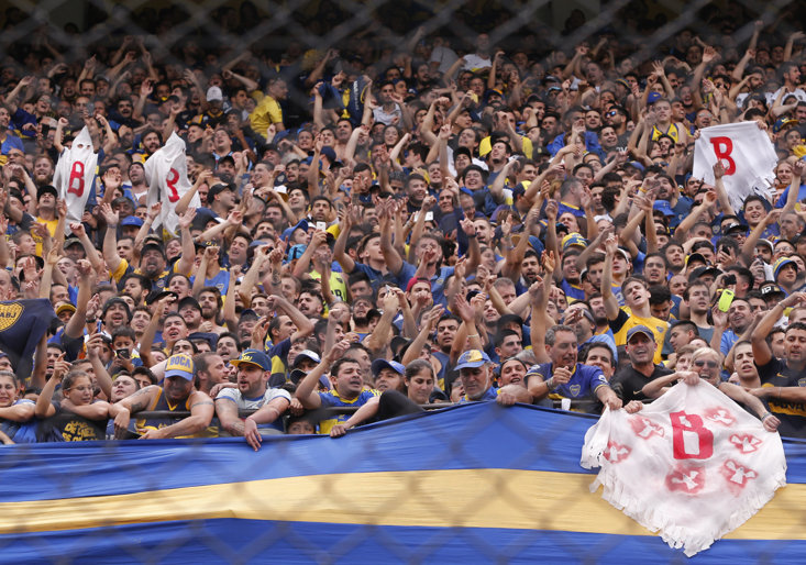 Boca Juniors fans at the first leg of the Copa Libertadores
