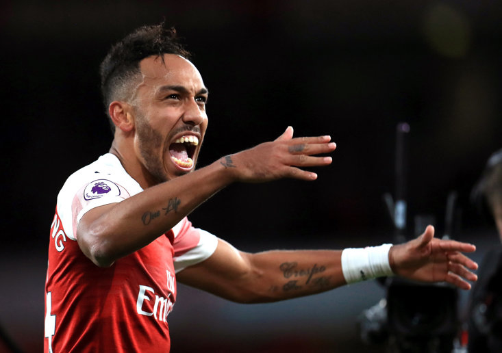 Pierre-Emerick Aubameyang celebrates after Arsenal's win over Spurs