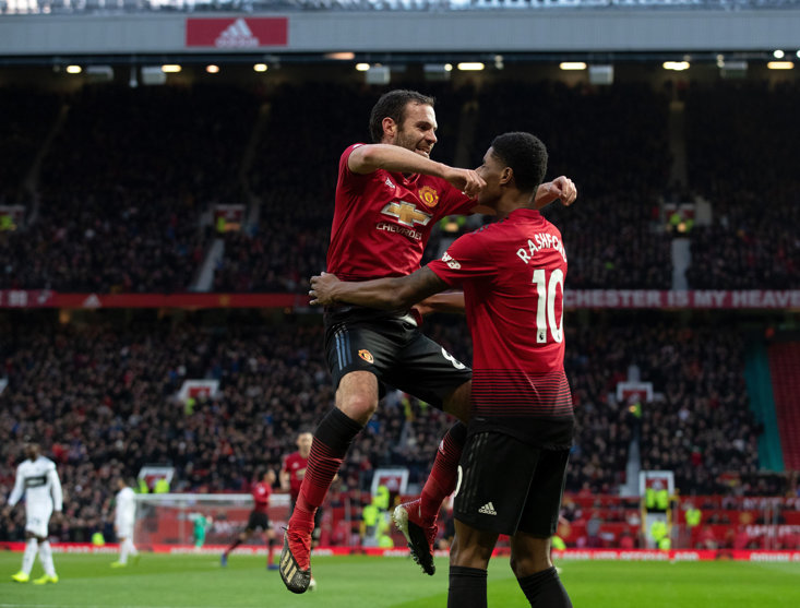Juan Mata scored one of United's three goals in the first half against Fulham