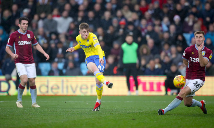 Jack Clarke scoring his first goal for Leeds United