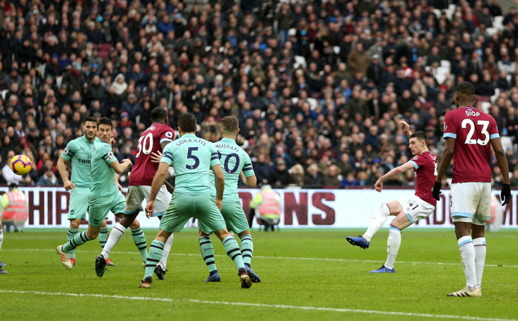 Declan Rice scored a stunning goal for West Ham against Arsenal