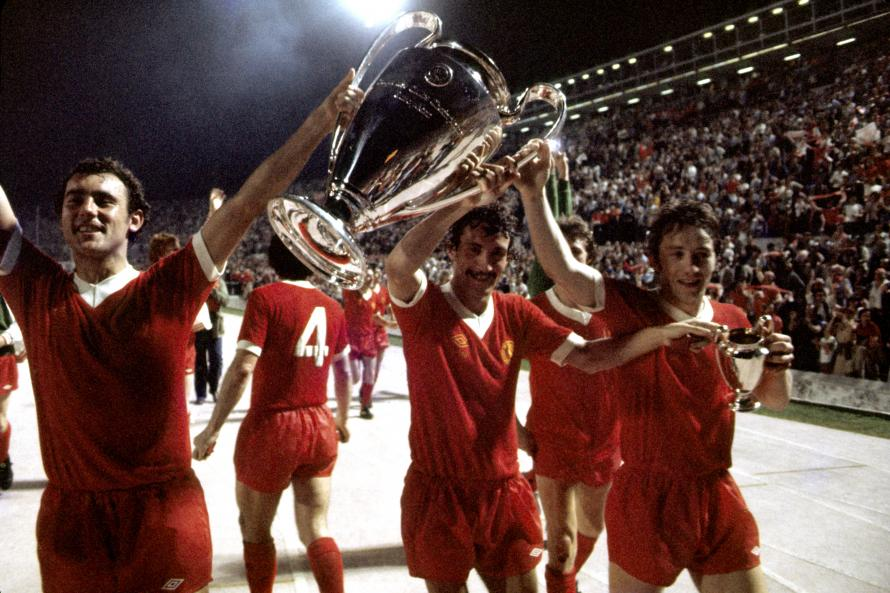 Liverpool's Ray Kennedy, Terry McDermott and Jimmy Case celebrate with the European Cup