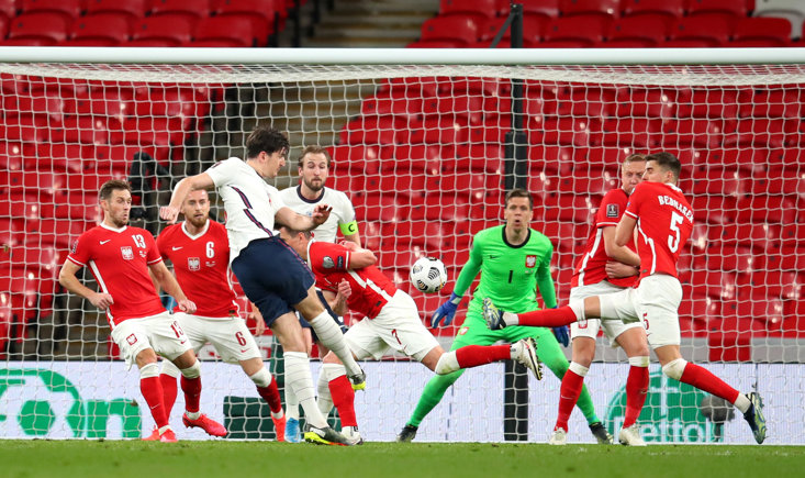 HARRY MAGUIRE LASHES THE BALL HOME TO SCORE