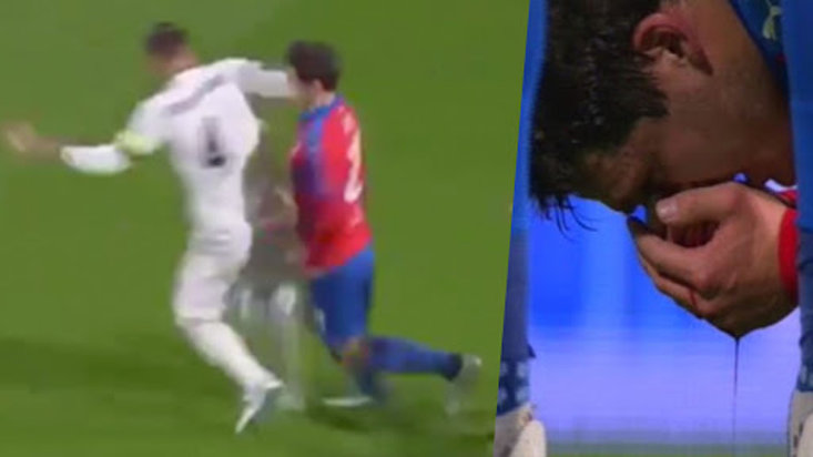 Sergio Ramos leaves opponent covered in blood after