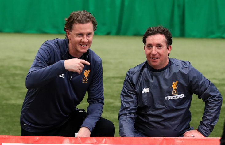 Could Robbie Fowler, pictured alongside Steve McManaman, be on the cusp of landing a job in League One?
