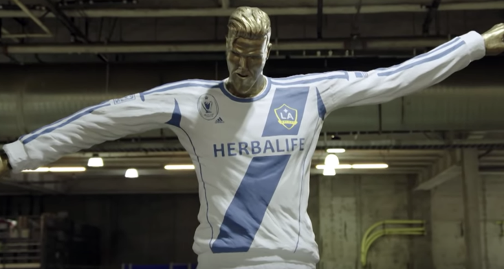 James Corden pranking David Beckham with a fake statue is brutally awkward