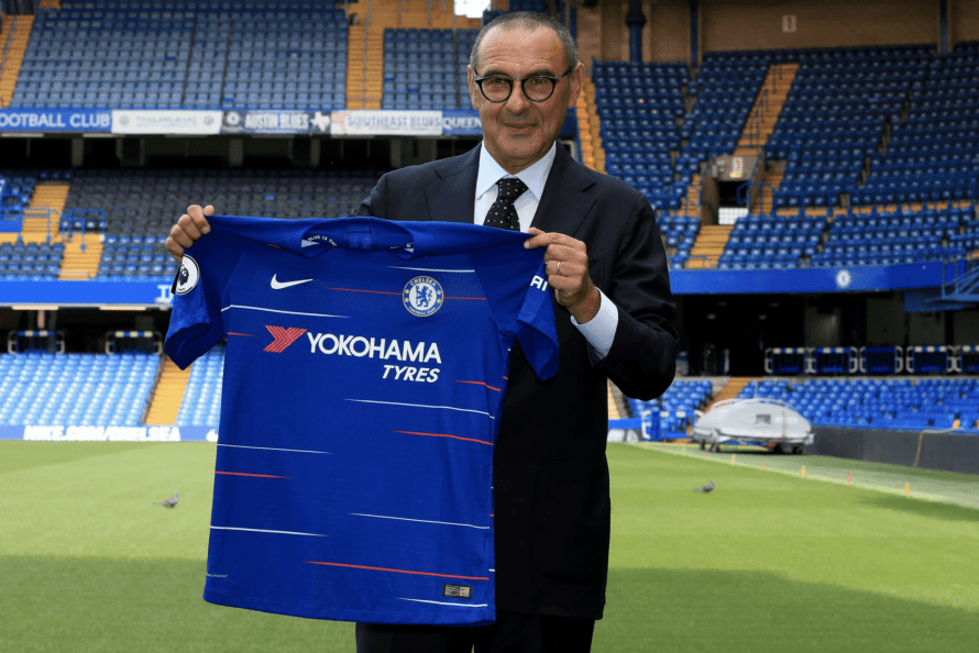 Maurizio Sarri is presented to the media after his appointment as Chelsea manager
