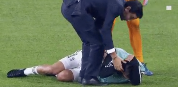Paulo Dybala was floored after he was caught unawares by a kick from his team-mate
