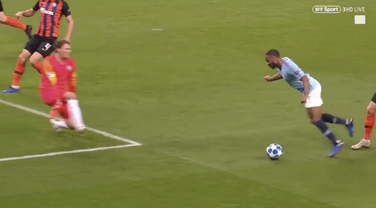Raheem Sterling takes a tumble and gets up to find he's been awarded a penalty