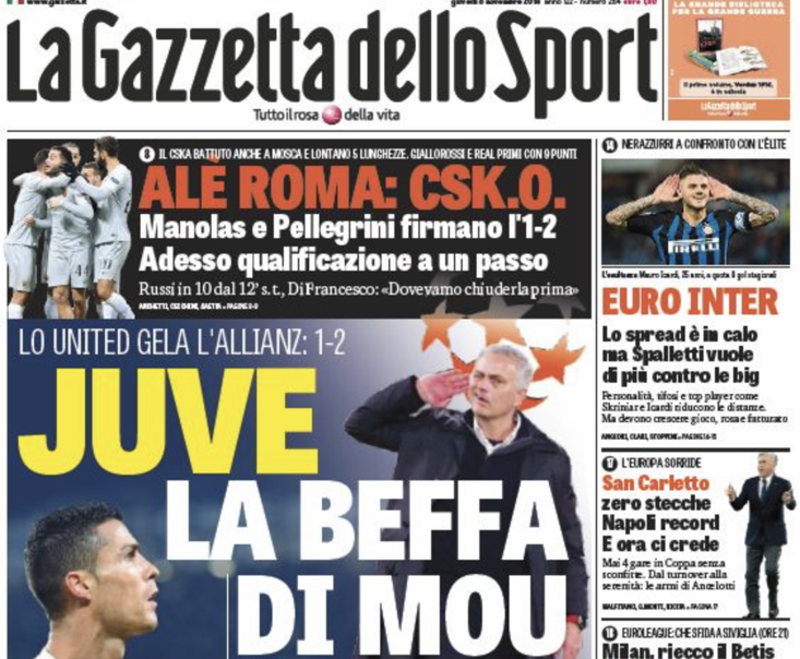 Manchester United's win in Turin stunned the Italian sporting press