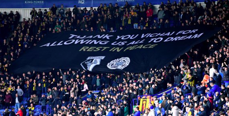 Watford fans with a touching banner at the King Power Stadium