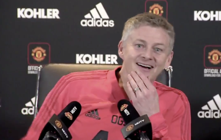 A relaxed Ole Gunnar Solskjaer at this first Manchester United press conference as manager