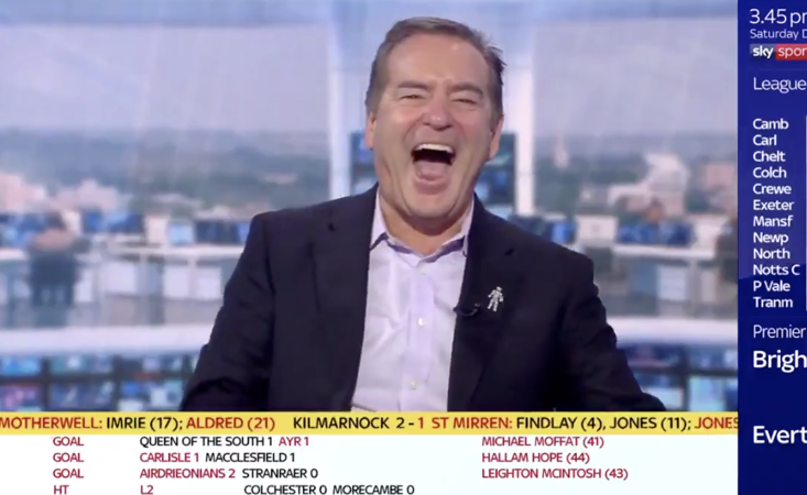 What reduced Jeff Stelling to a wreck on today's Soccer Saturday?