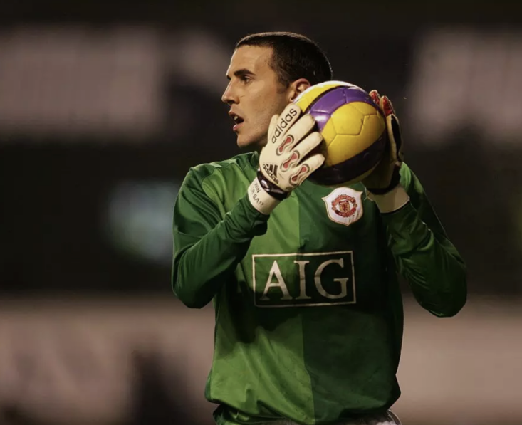 Manchester United's John O'Shea when he stood in for injured goalkeeper Edwin van der Sar in 2007 - one of several outfield players to have picked up the gloves in times of crisis