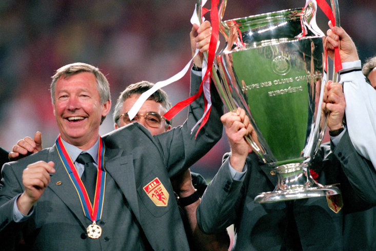 Sir Alex Ferguson with the first of his two Champions League trophies