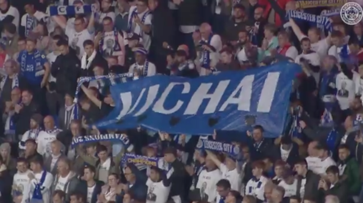 Leicester fans honour Vichai during the match against at Cardiff