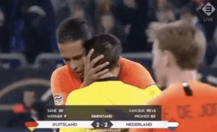 Liverpool defender Van Dijk consoles referee who lost mother