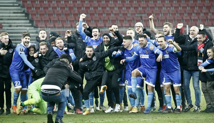 WOLFSBERG'S PLAYERS CELEBRATE THEIR 1-0 WIN OVER FEYENOORD