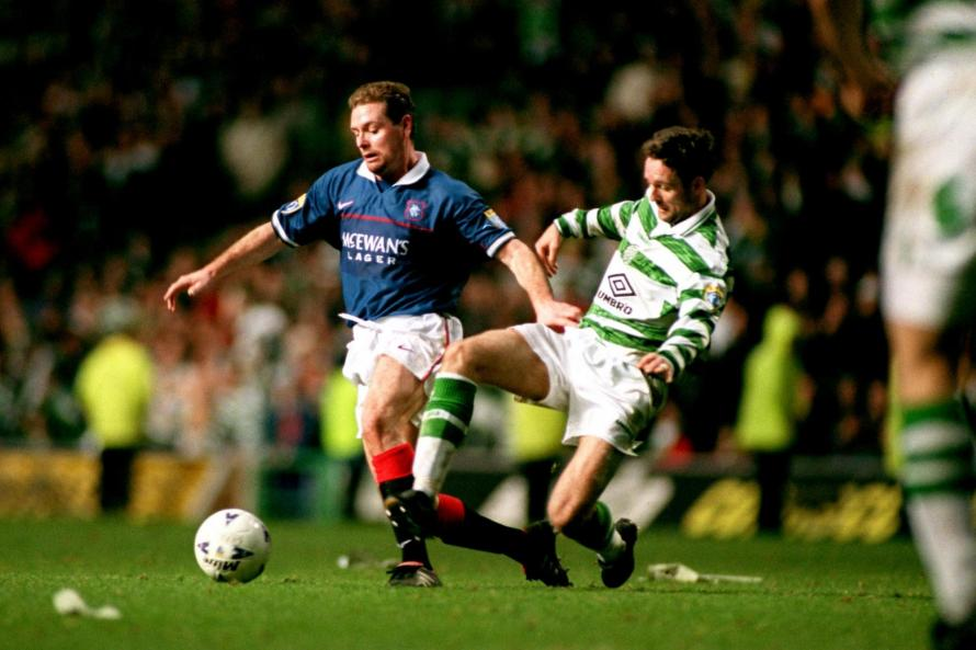 Paul Gascoigne in Old Firm action for Rangers in 1997