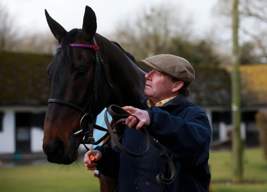 Sprinter Sacre, a horse who famously thrived following a wind op, with trainer Nicky Henderson