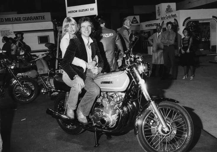 Barry Sheene with girlfriend Stephanie McLean at the Earl's Court Motorbike Show 1976