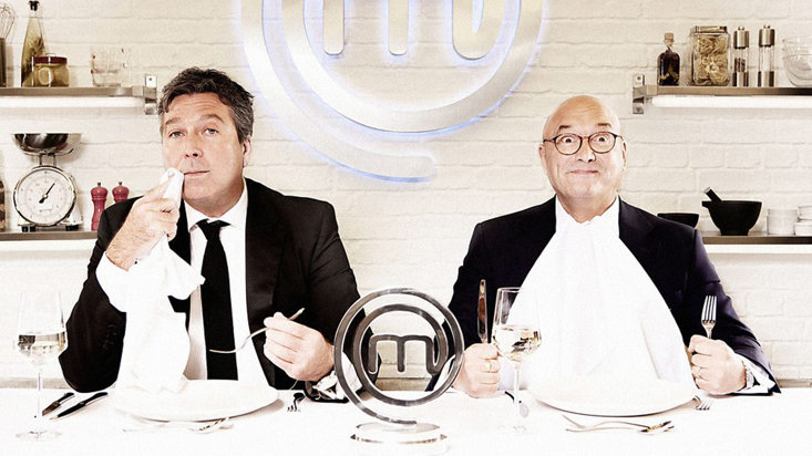 Wallace alongside his partner-in-crime John Torode on the set of MasterChef