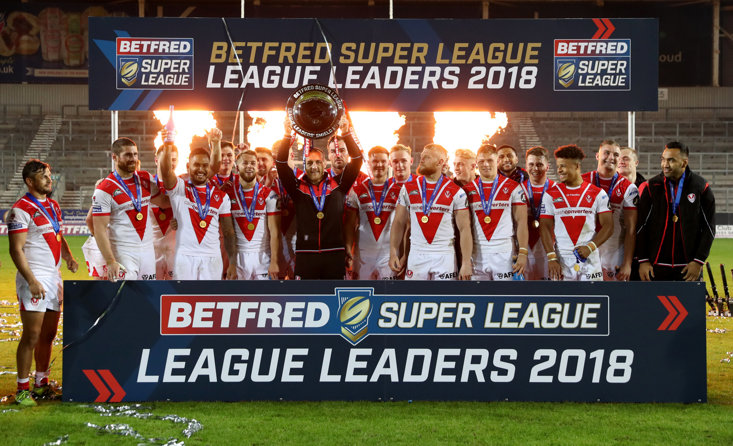 St Helens celebrate winning the Super League Leaders Shield. Picture: Paul Currie/SWpix.com