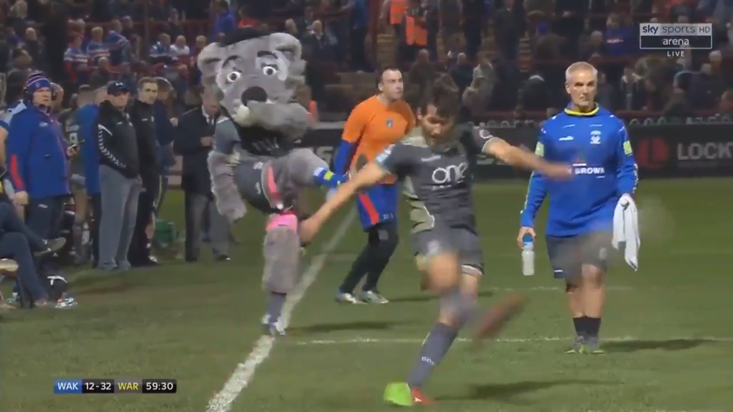 Warrington Wolves' mascot gave Stefan Ratchford some inspiration in Super League clash