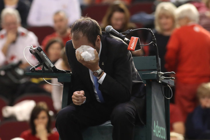 Umpire Arnaud Gabas Finds Himself On The Wrong End Of A Tennis Ball (Getty Images)