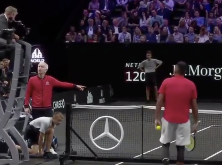 Both John McEnroe & Nick Kyrgios fumed at the umpire after being outraged by his decision